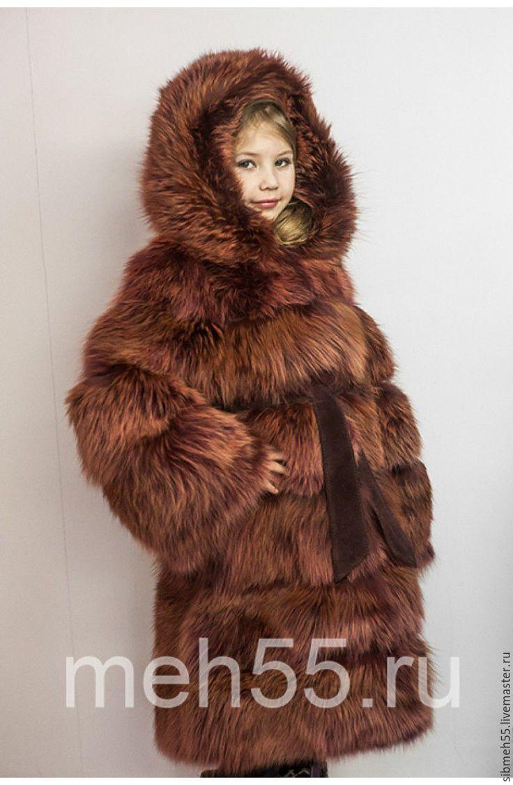 Купить Детская шуба - бордовый, шуба из лисы, мех натуральный, мех лисы