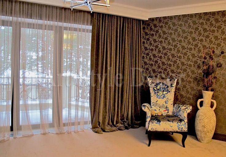 Современные шторы, лежащие на полу Шторы - бархат (Бельгия) Тюль - сетчатый тюль (Бельгия) #curtains