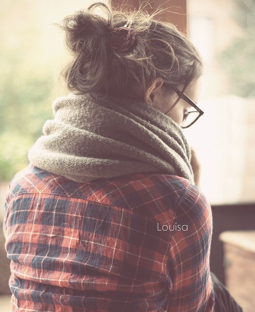 bun+flannel+scarf+glasses