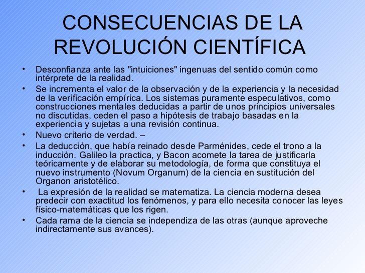 Cuadros sinópticos sobre la Revolución Científica y sus consecuencias | Cuadro Comparativo
