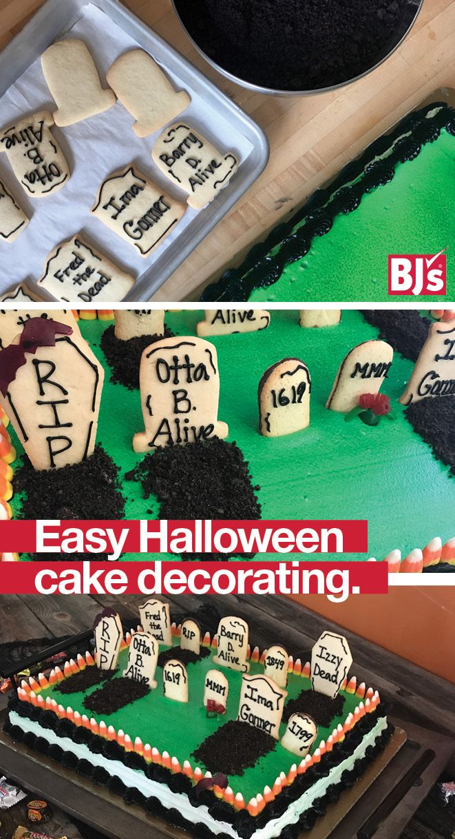 Semi-Homemade Halloween Cake - easy Halloween craft for kids. Decorate a store - bought cake with refrigerated cookie dough. Tip: Use Milano cookies to make it even easier. http://stocked.bjs.com/food/monster-makeovers