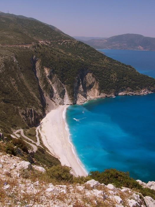 ✯ Myrtos Beach - Kefalonia, Greece  Had an interesting experience of getting the hire car stuck in the sand on that beach because one of the idiots I went with thought he saw a pub at the other end of said beach!