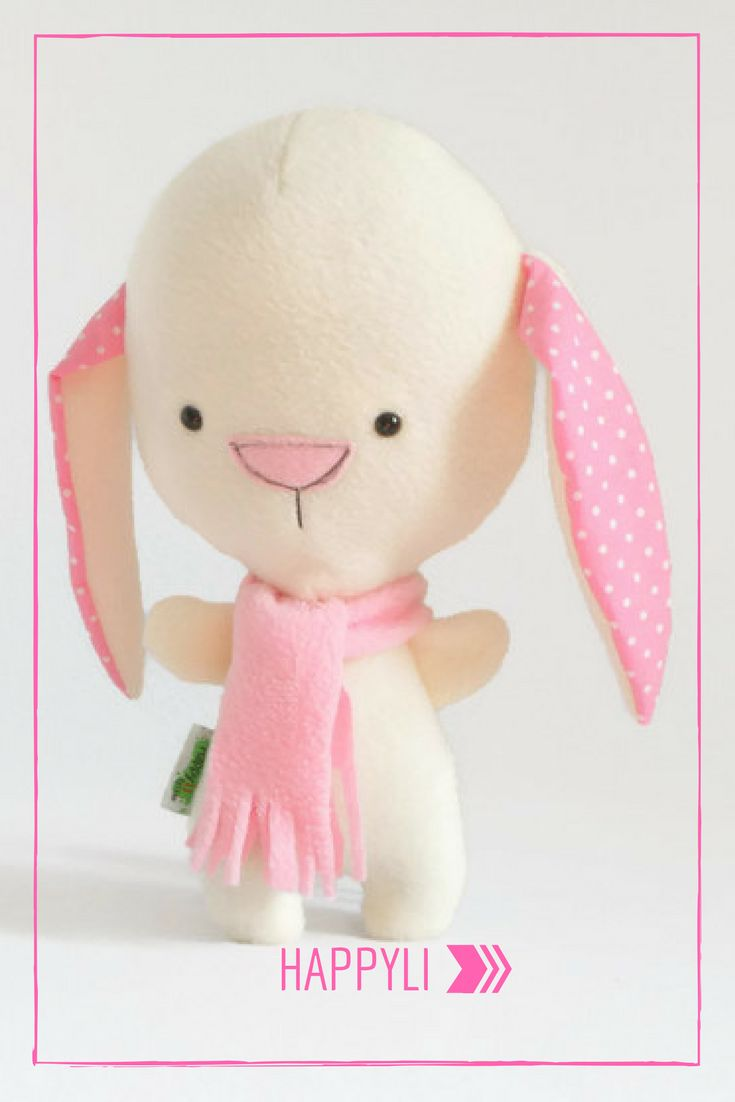 Cute Stuffed Bunny, White Bunny Plush, Bunny Rabbit Plushie, Rabbit Stuffed Animal, Baby Toy, Stuffed Toy, Stuffed Animal for Babies, Plush #happyli #giftforkids #handmade #plushies #forkids #etsyshop