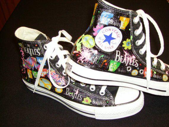 Custom Tennis Shoes  High Tops /The Beatles by brandylowdesigns