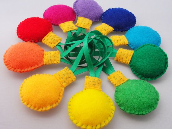 Items similar to Merry Christmas Lights - Felt Ornament Set - 10 on Etsy, a global handmade and vintage marketplace.