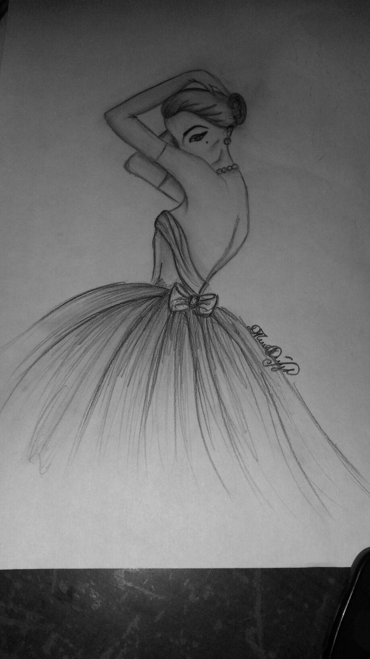 Stilvolle Frauenkleidzeichnung Bleistift Kunstzeichnungen Kleid