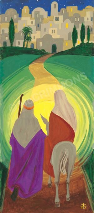 "The Journey to Bethlehem - Christmas Banner by The Benedictine Sisters of Turvey Abbey. ""Today you will know that the Lord is coming; tomorrow you will see his glory."" Order ref: BAN20 / 52"" x 24"" ('A' format) / £130 + VAT = £156.00. Larger sizes available banners@mccrimmons.com or visit our website for further details."