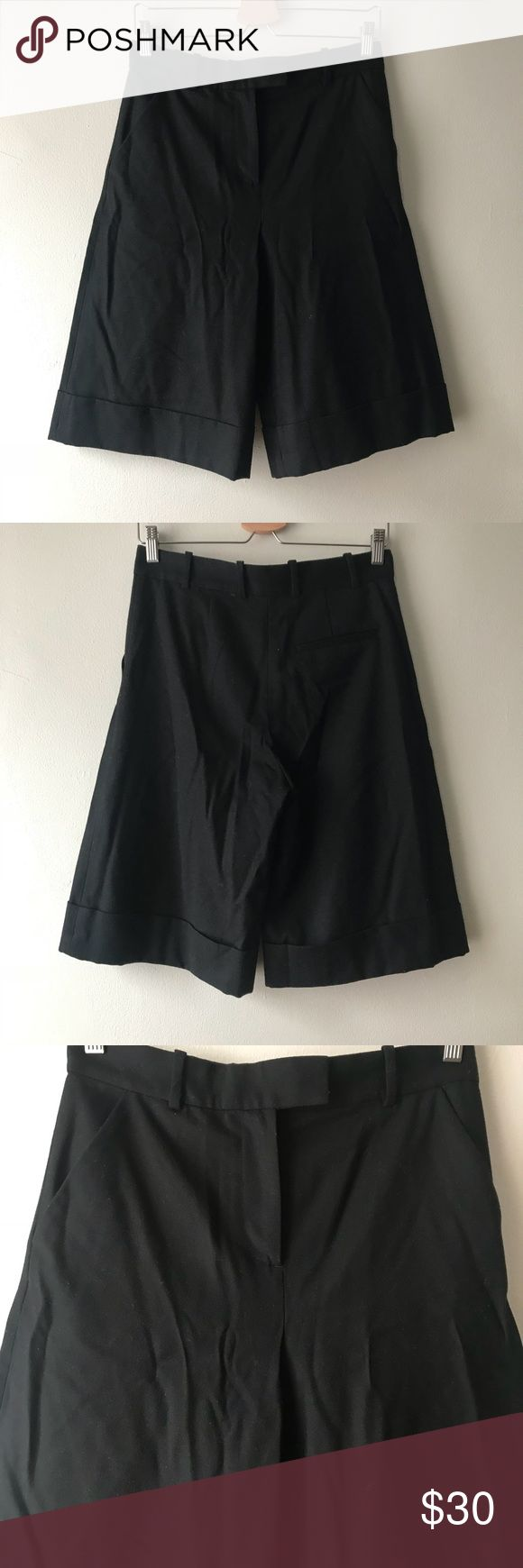 "COS Shorts 4 Wool Blend Black Size 4 Cool wool blend tailored shorts. Missing one closure see photos.  Rise: 11"" Inseam: 12"" COS Shorts"