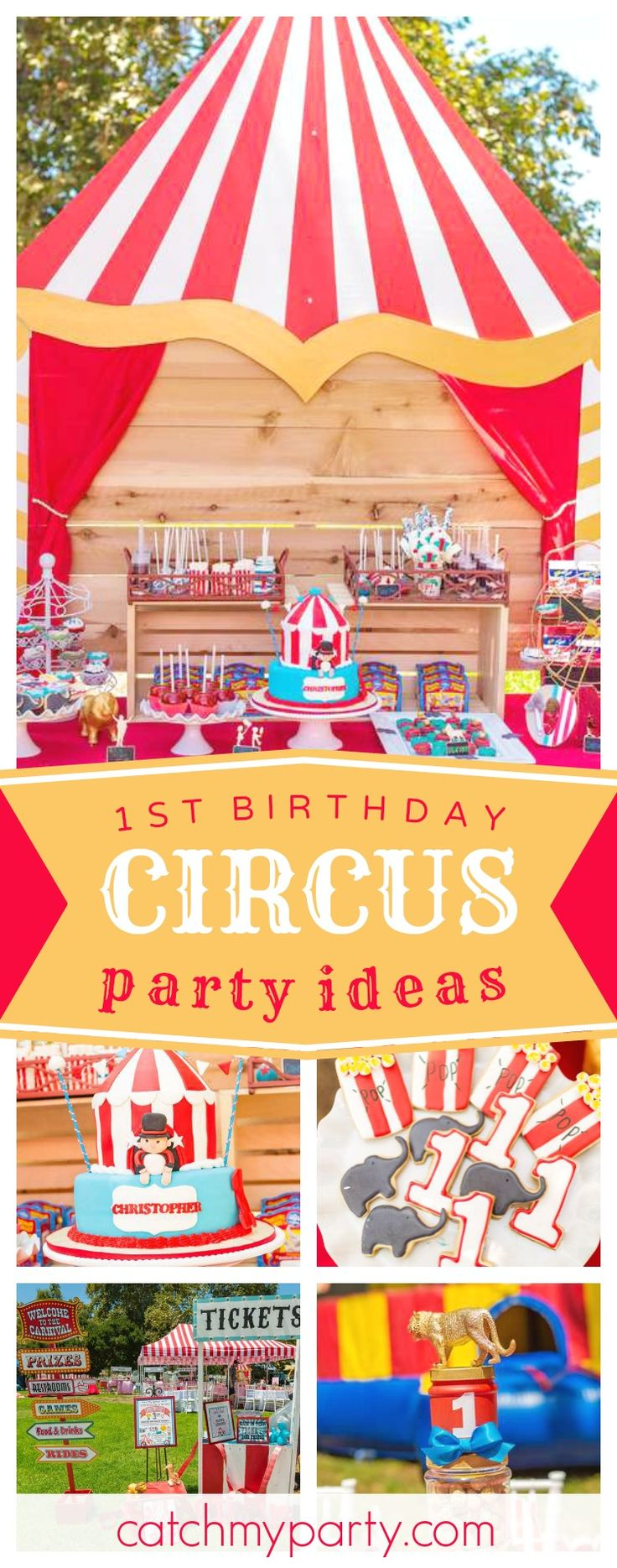 Check out this fun 1st birthday Circus Bash. The party decorations are amazing!! See more party ideas and share yours at CatchMyParty.com