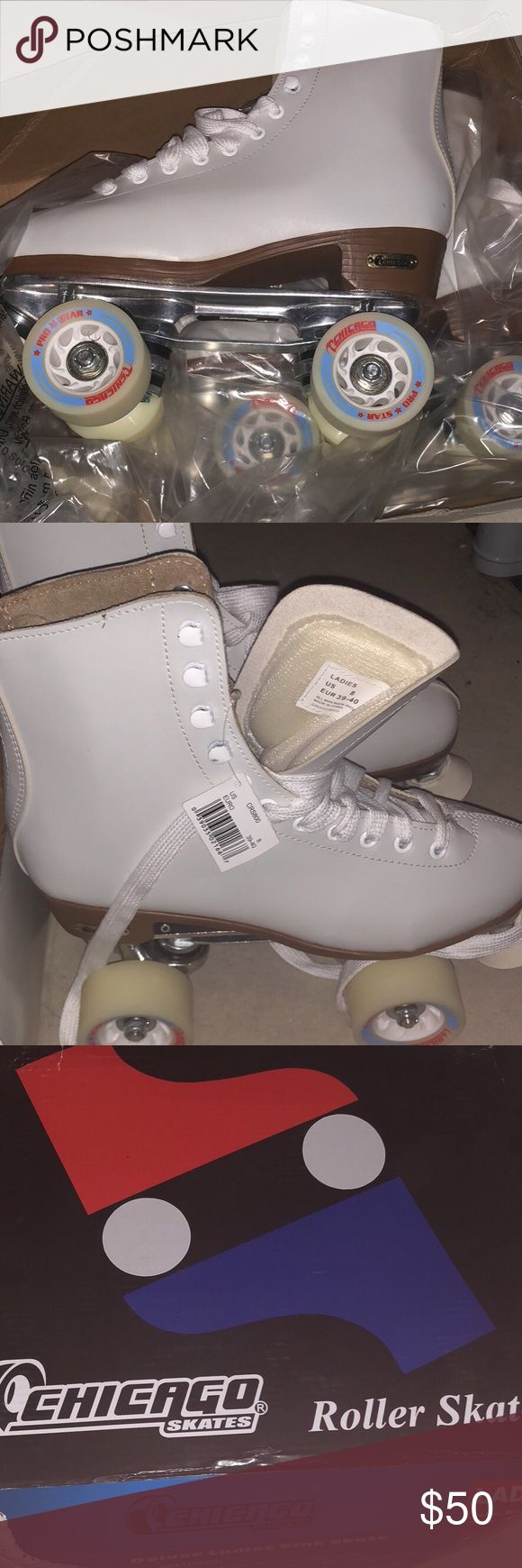 Chicago roller skates size 8 NWT Leather roller skates originally 80.00. Never worn, run large. May fit 8.5 or 9. Other