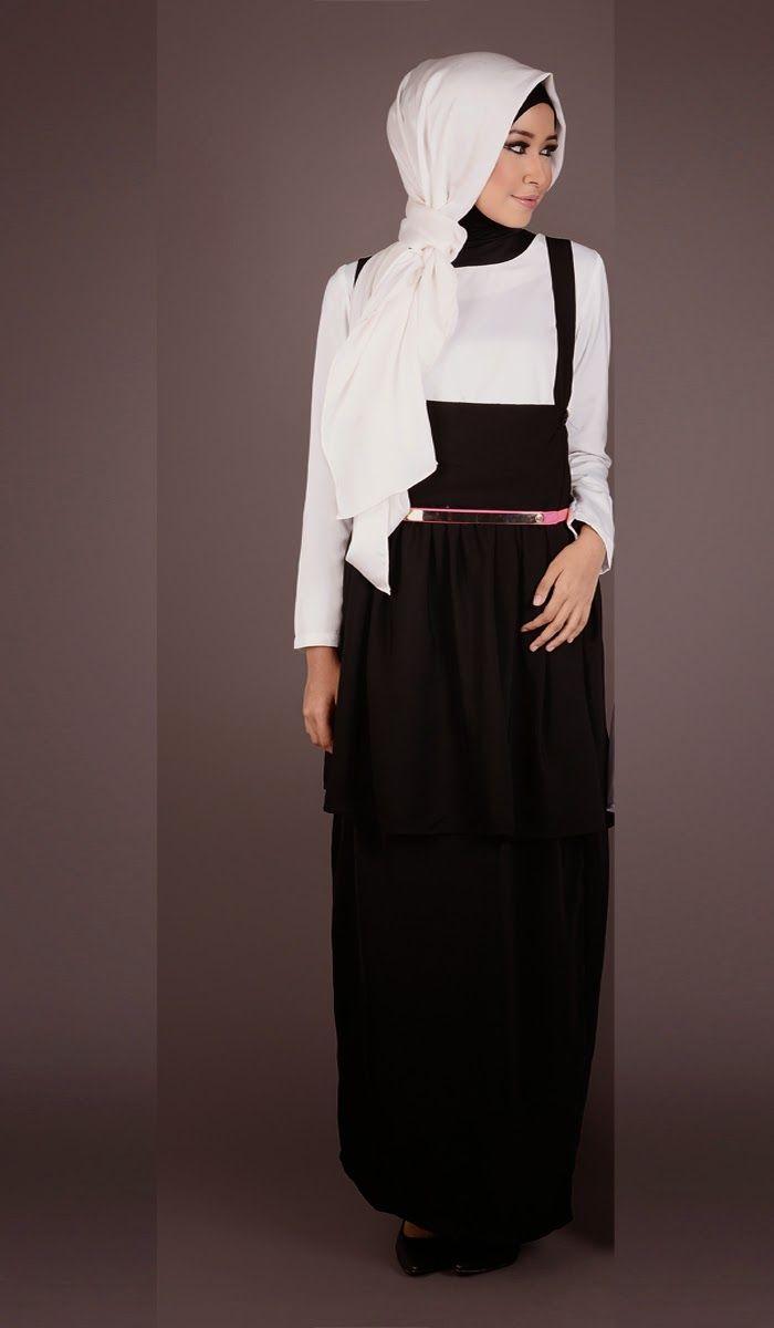 Model Gamis Hitam Putih Elegan di 8  Model, Hitam, Baju muslim
