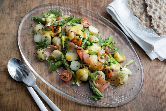 Serves 2-4 people.  This is a wonderful summery cured salmon salad. Perfect for any Smorgasbord. The ingredients can be changed to fit personal taste – sometimes, we add boiled egg to the recipe, or whatever crunchy ...