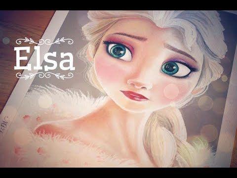 Speed drawing Elsa/ Redesenhando Elsa - YouTube
