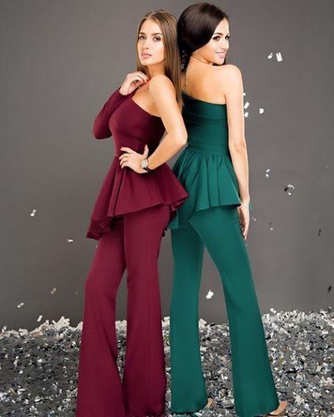 В наличии в контейнере! Брючный костюм (брюки клеш,баска- одно плечо) Цвета :бардовый, зеленый, красный Размеры:xs, s, m Цена :1300 грн. #mshop_костюмы