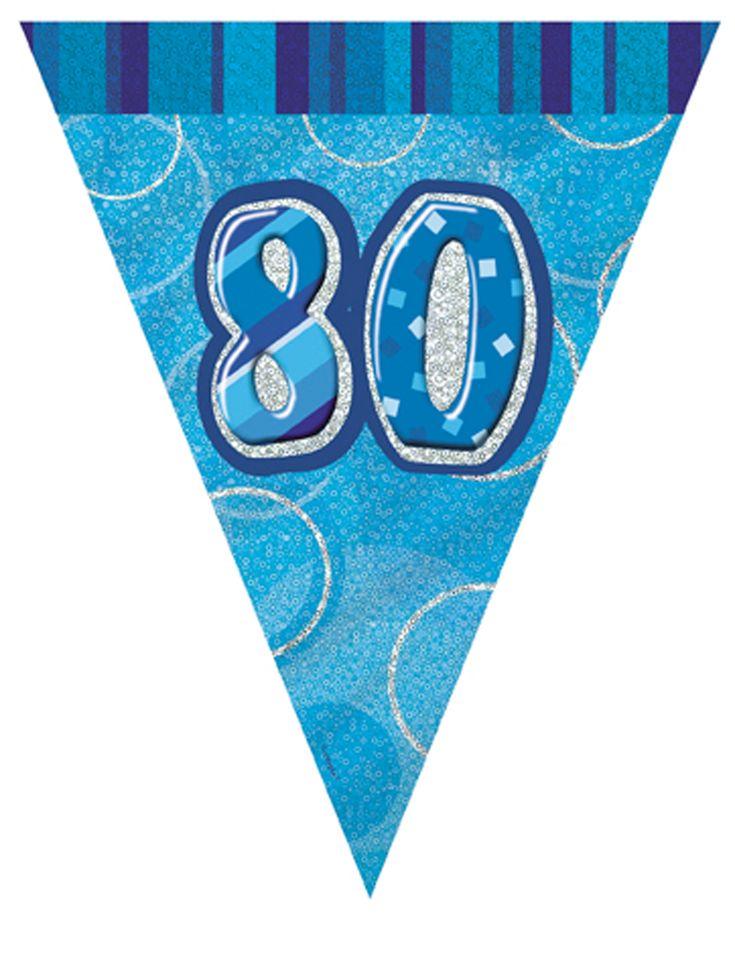 Guirnalda banderines azul 80 años 2,74 m: Esta guirnalda de plástico tiene 9 banderines azules.La guirnalda mide 274 cm y los banderines, 22,5x26,5 cm.El número 80 aparece en el centro.Completa la decoración de...