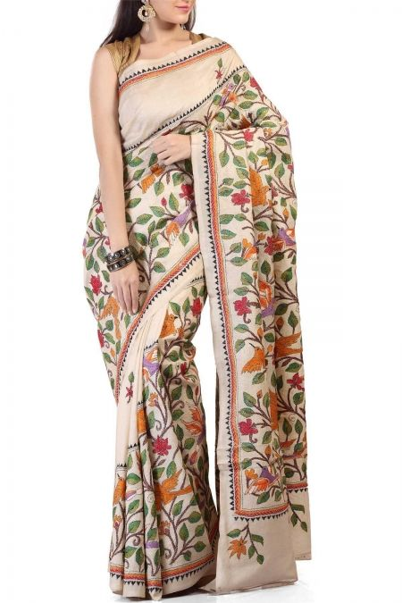 Beige Aarohi Tota Myna Kantha Stitch Tussar Silk Saree