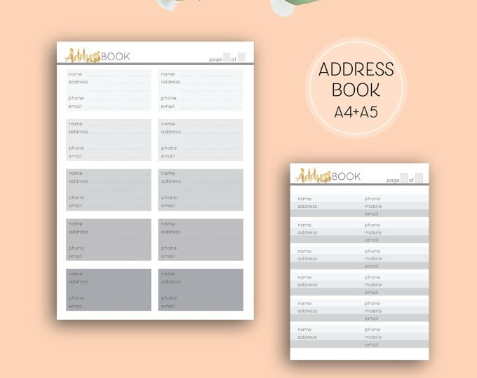 Printable address pages, digital download directory grey and gold a4 planner pages