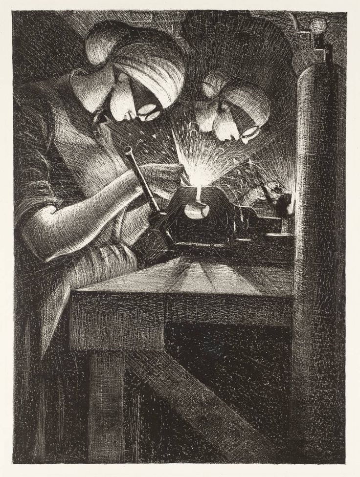 Christopher Richard Wynne Nevinson / Acetylene Welding / 1917 / lithograph on paper