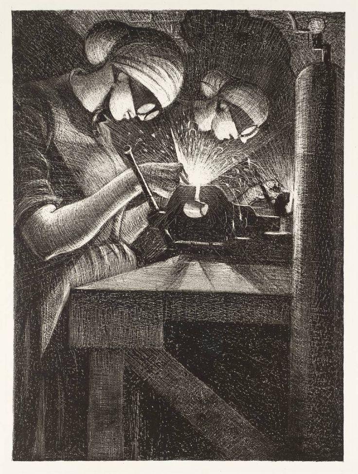 Christopher Richard Wynne Nevinson / Acetylene Welding / 1917 / lithograph on paper