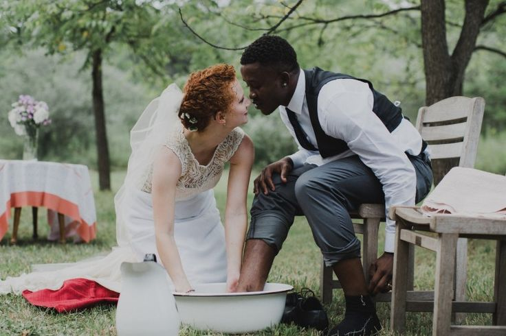 Bonus: An acoustic playing groom and tender foot washing... THE BRIDE: Fiona, International Student Advisor & THE GROOM:  Tony, Lawyer ... ''Sum-up of the wedding vibe: An emotional, homegrown wedding followed by an international dance party.''