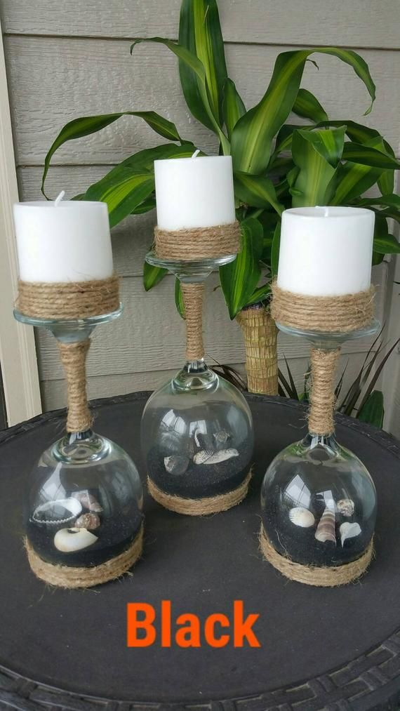 Seashell And Sand Wine Glass Candle Holders Set Of 3 Etsy Craft