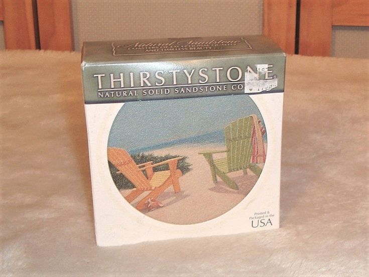 New Thirstystone Set of 4 Beach Scene Natural Sandstone Coasters W/ Cork Backing #Thirstystone