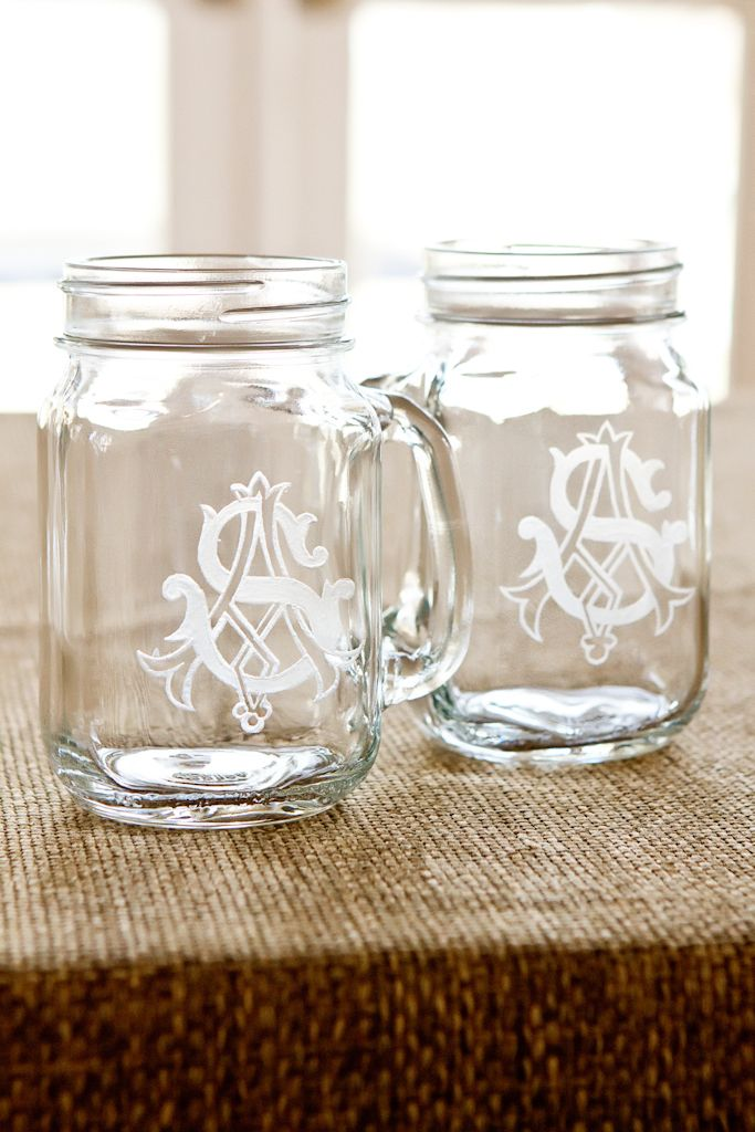 monogram mason jars: Masons, Gift, Craft, Wedding Ideas, Candy Bar, Monogrammed Mason, Mason Jars, Diy Monogrammed