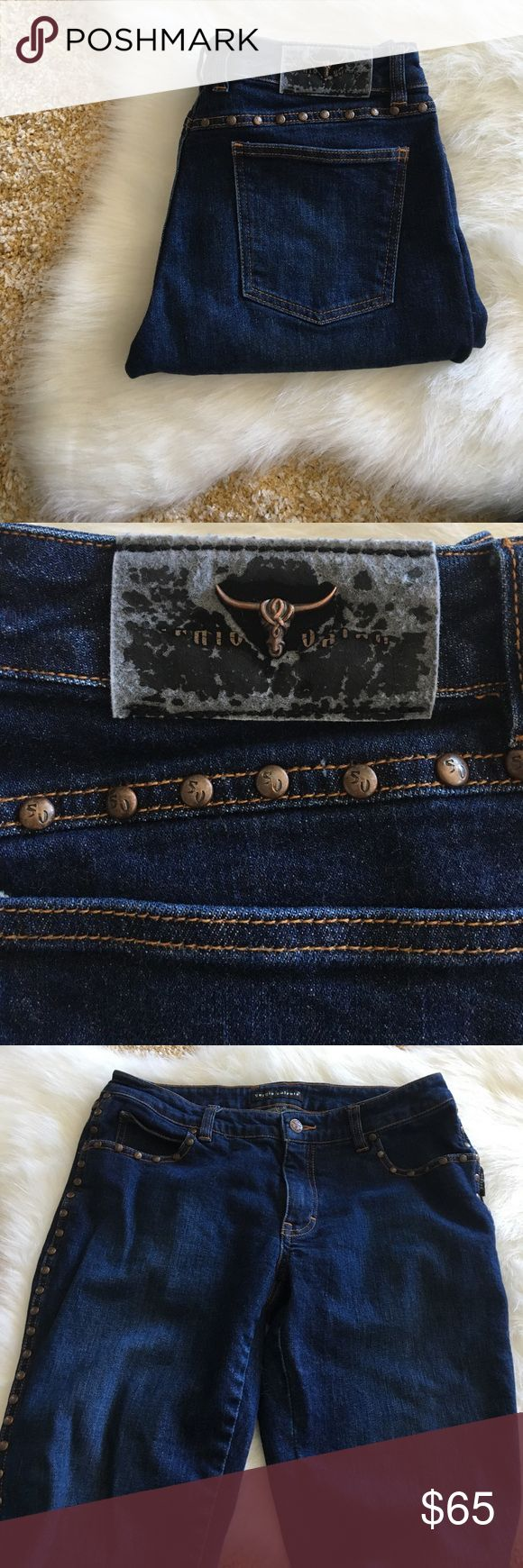 """{ Sergio Valente } stud embellished jean Sergio Valente studded Jean, front and back pockets, straight leg, measures laying flat approx 15"""" across top 31"""" inseam. Previously worn with normal wash and wear to it in great condition. Sergio Valente Jeans Straight Leg"""