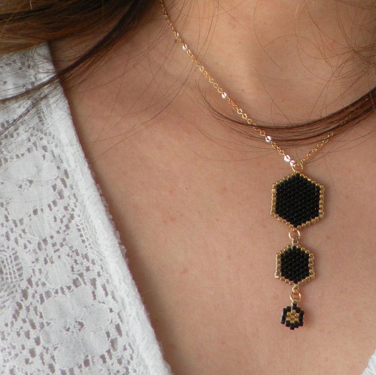 Three Hexagon Black and Gold japanese delica beads by LiBeadi