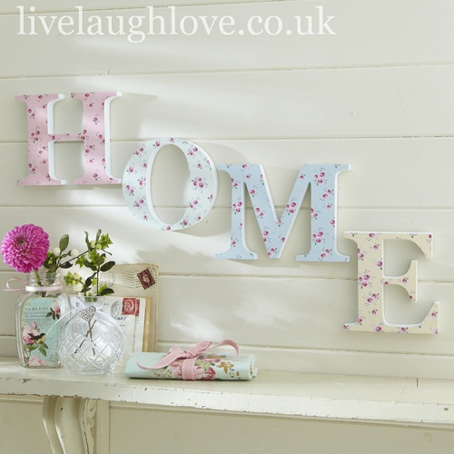 Floral Wooden Word Decoration-Home £14.95