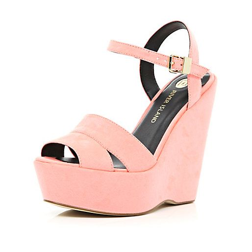 RIVER ISLAND CORAL WEDGE SANDALS