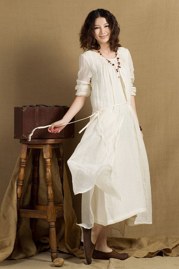 layered white dress / longsleeve winter dress, linen wedding dress - plus size on Etsy, $118.00