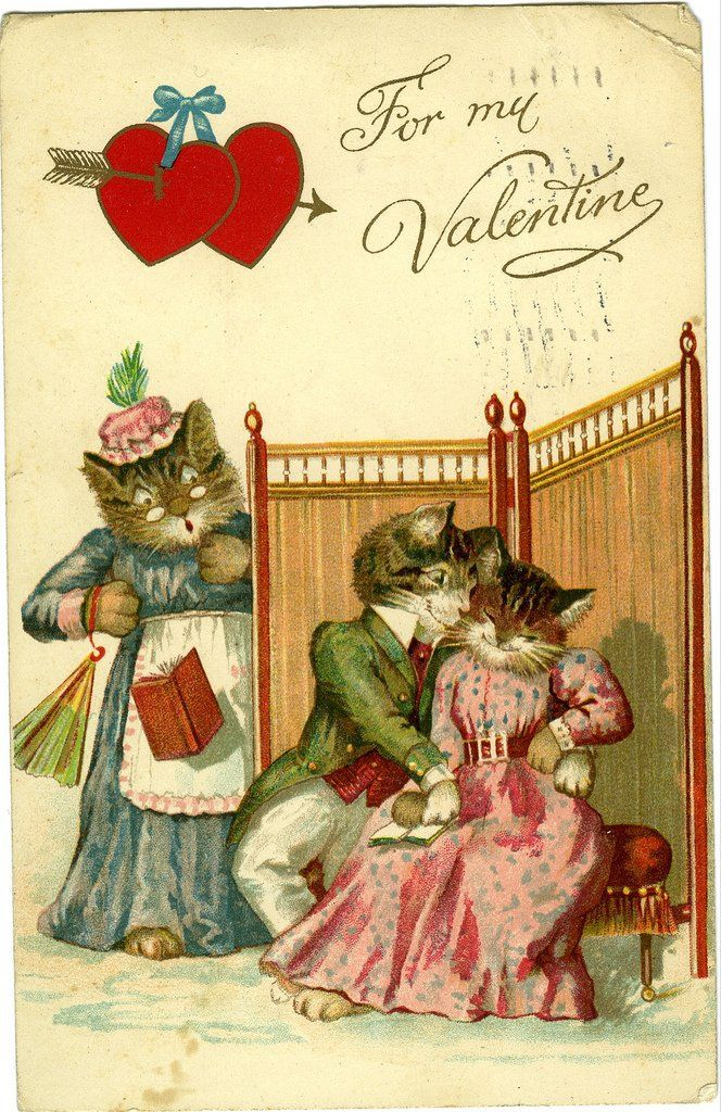 Vintage Valentine card with cats