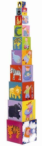 Djeco Stapelturm Funny Blocks Stapelspiel für Kleinkinder ab 12 Monaten - Bonuspunkte sammeln, Kauf auf Rechnung, DHL Blitzlieferung!