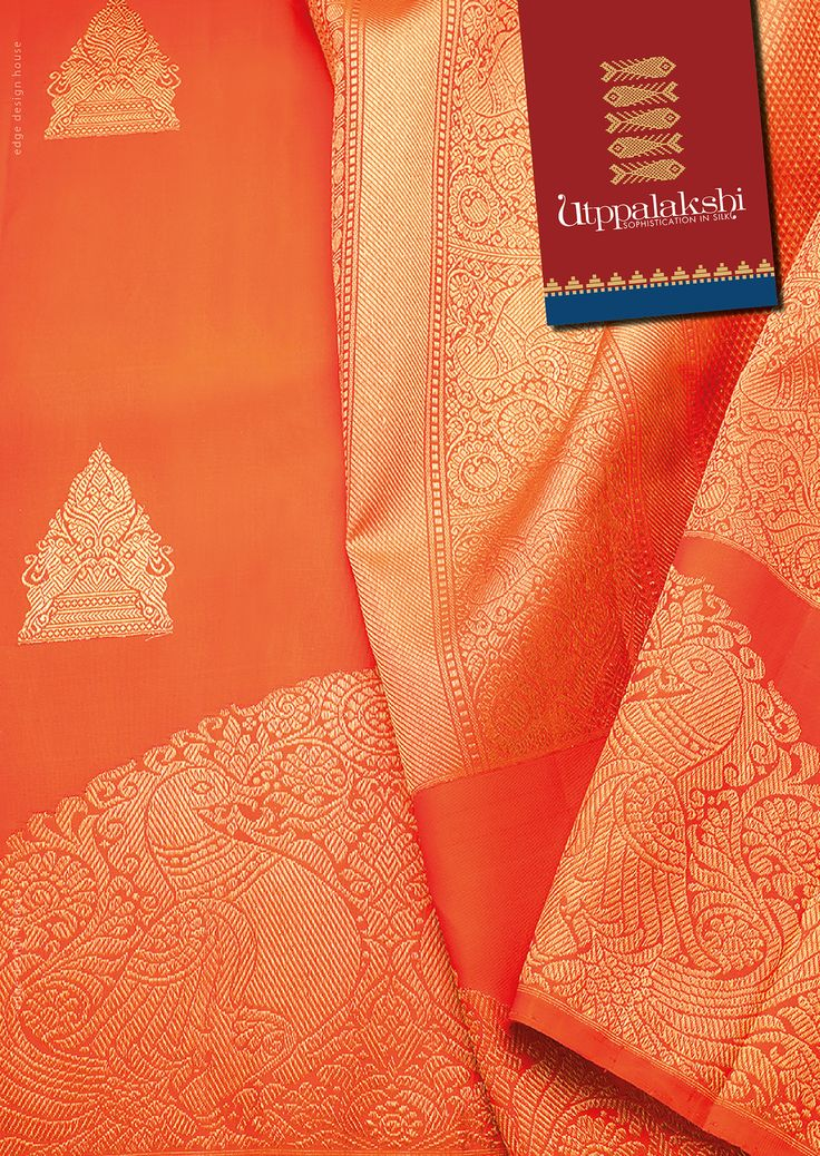 Burnt orange coloured saree. The peacocks and yazhis grab your attention. Regal…