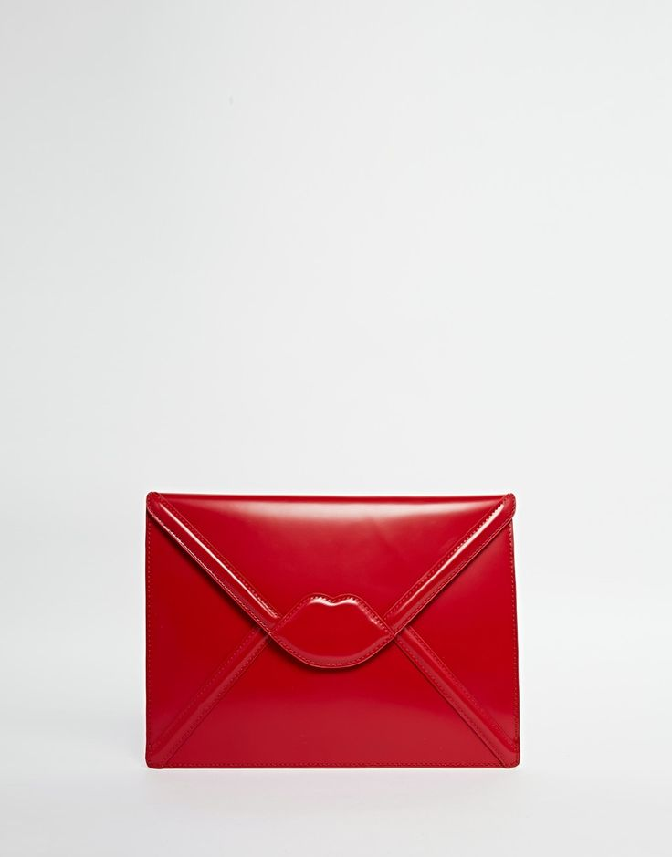 Image 1 of Lulu Guinness Leather Evelope Clutch with Lips