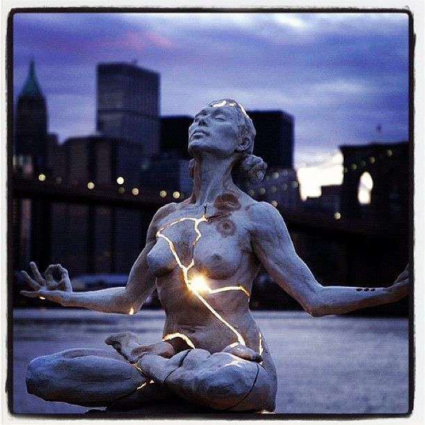 """""""There is a crack in everything. That's how the light gets in""""  Leonard Cohen.            Akhilandeshvari -  The Godess Never-Not-Broken shows us the power and opportunity of being broken into pieces. I pay homage to the broken heart."""