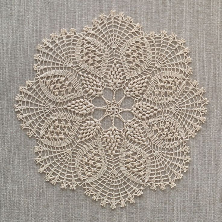 Gardenia Crochet Doily. This delicate handmade fine cotton crochet doily will add a sophisticated touch to your room, whether it has been chosen to decorate a dining, coffee or a side table. Crochet design is made using lace crochet technique to resemble Gardenia bloom. Materials: Cotton Colour: Cream Dimensions: Dia. 32 cm