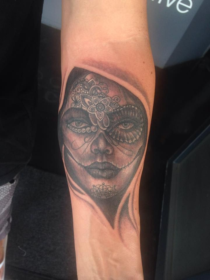 Custom Day of the dead tattoo done by Aidin Chimney!