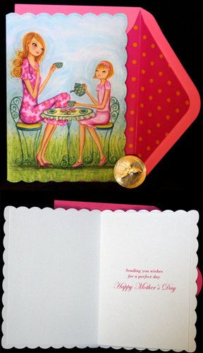 Papyrus Bella Pilar Happy Mother's Day Daughter Tea Time Card Lined Envelope | eBay