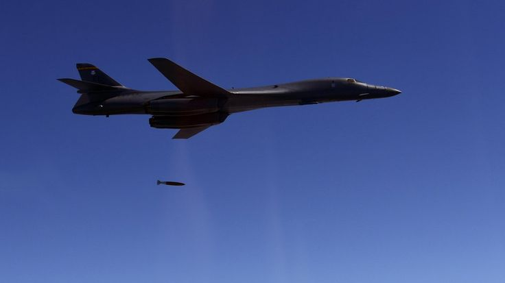 Weapons drop from a U.S. Air Force B-1B Lancer bomber as it practices attack capabilities on Aug. 30, 2017. (South Korea Defense Ministry via AP)