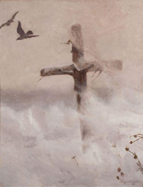 Krzyż w zadymce - Józef Chełmoński