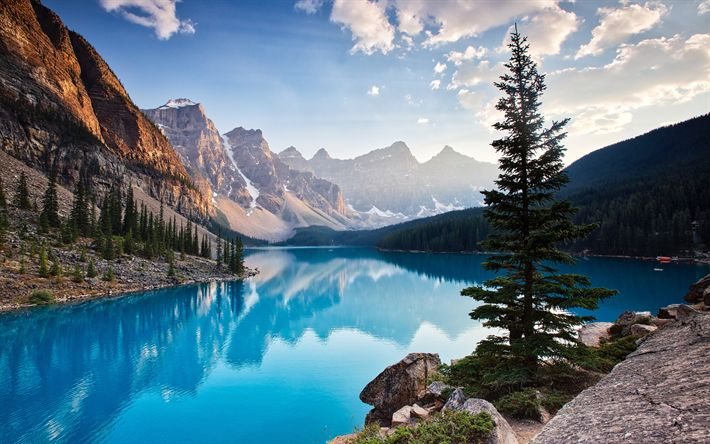 Download wallpapers North America, Moraine Lake, morning, Banff National Park, blue lake, mountains, Canada