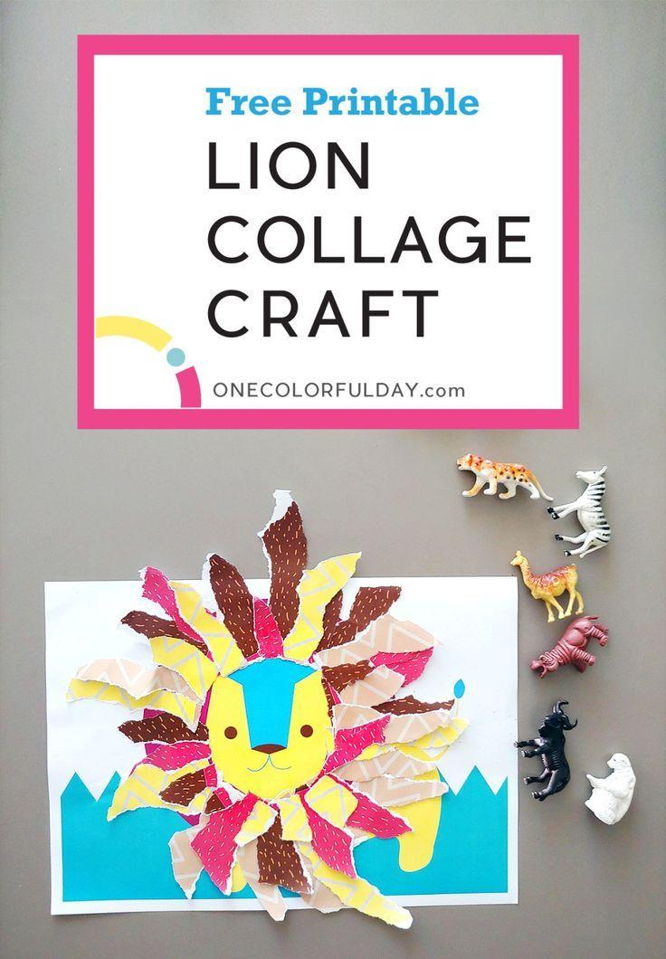 Printable Lion Collage Activity Printable Crafts Printable