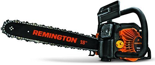 Product review for Remington RM5118R Rodeo 51cc 2-Cycle 18-Inch Gas Chainsaw. Whether you're trimming tree limbs, cutting firewood or clearing debris after a storm, no cutting task is too tough for the Rodeo chainsaw's powerful 51cc engine. The 18-inch low-kickback bar and chain, pro-grade crankcase and sprocket help you cut through even hefty trunks with ease....