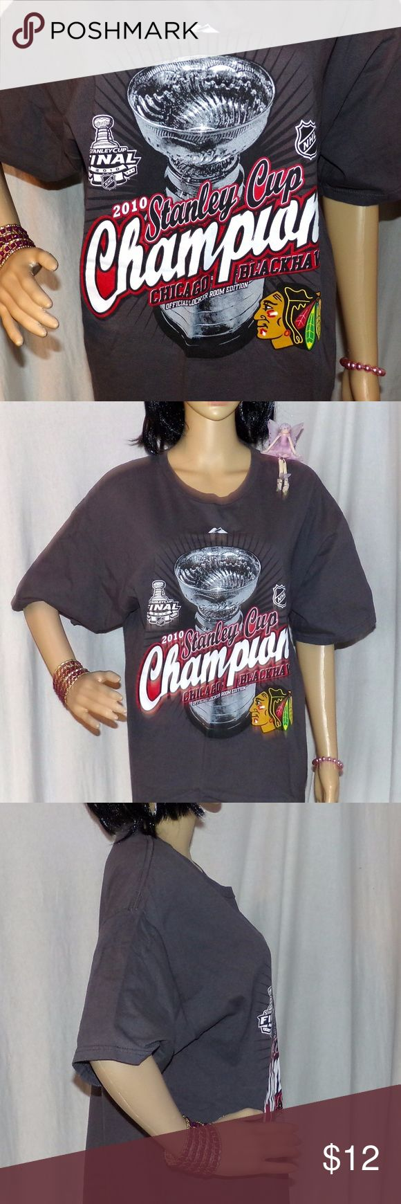Chicago Blackhawks T Shirt Stanley Cup Champions Chicago Blackhawks T-Shirt Stanley Cup Champions 2010 NHL T-Shirt Size L  LOW & Fast Shipping. The t-shirt is kind of a gunmetal color and is in excellent condition it is Made by Alstyle and it is 18 years old! 100 percent Cotton. 4 Reference, our Supermodel Denise's Measurements r 32-24-33. BUNDLE 2 or more items & get a BIGGER DISCOUNT or make an OFFER Fairies Love Offers :) Alstyle Tops Tees - Short Sleeve