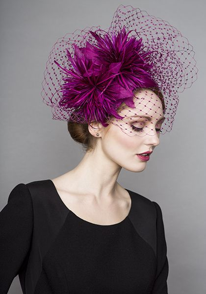 Rachel Trevor Morgan Millinery Autumn Winter 2015 R15W10 Pink silk crescent headdress with feather pompoms and veil