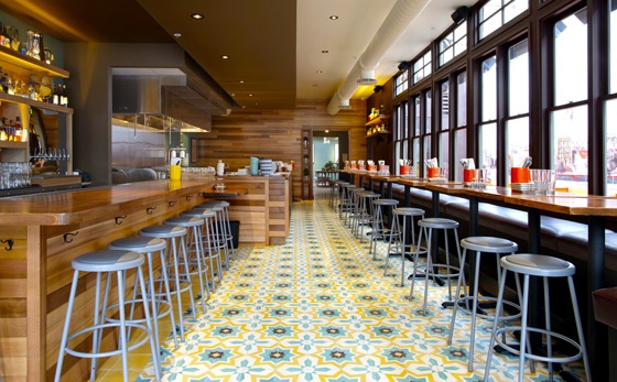 mission tacolicious tiles wood layers black metal san francisco restaurantsrestaurant ideasrestaurant interiorsrestaurant