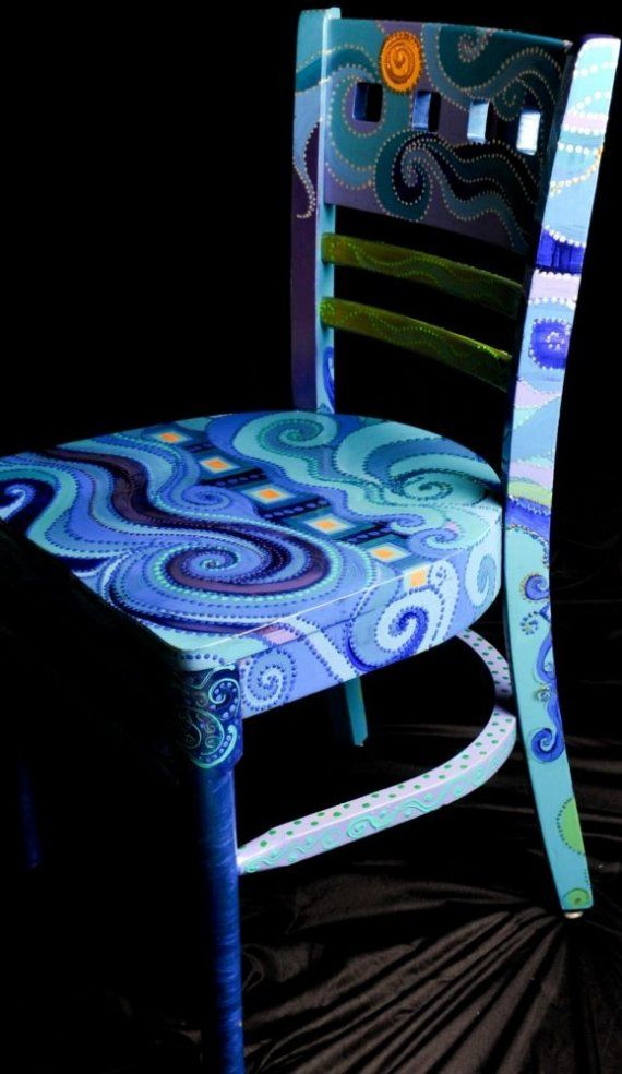 This reminds me of a chair my husband had that was painted by his entire 7th grade class. Everyone painted a small bit. That would be a great project for a kid's birthday party and would result in a fun chair!