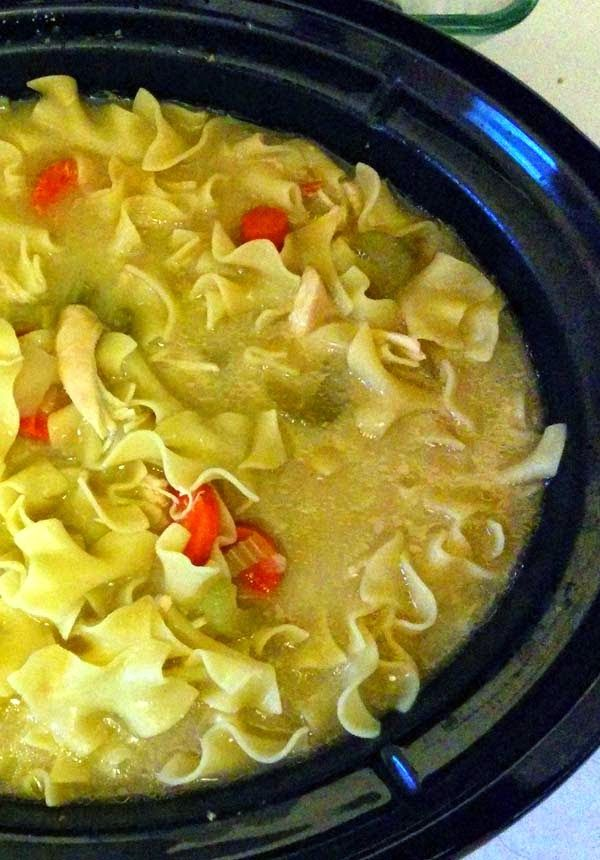 Easy Crock pot Chicken Noodle Soup Recipe. It's cold outside right now and want this!